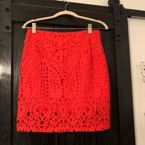 Forever 21 Red Fitted Lace Mini Skirt - Medium